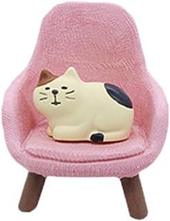 SPING DAWN 1:12 Dollhouse Miniature Armchair, Doll House Chair with Miniature Pet Cat, Sofa Doll House Accessories (Pink)