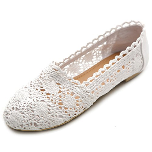 Ollio Womens Shoe Lace Ballet Breathable Flat ZM1023(10 B(M) US, White)