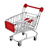 SunnyClover Mini carrito de la compra Juguetes Supermercado Carro de la compra Utilidad Carro de la compra Carrito de almacenamiento Juguete Rojo 1 pieza