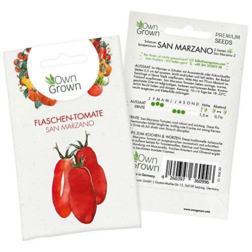 Tomaten Samen San Marzano: Premium Tomatensamen zum einfachen Anbau von Tomatenpflanzen für Balkon und Garten – Alte Tomatensorten Samen für köstliche Flaschentomaten – 5 Gemüse Samen von OwnGrown
