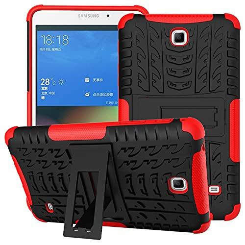 ZHIWEI Tablet PC Bag Coperchio da Tablet per Samsung Galaxy Tab 4   T230 Texture Pneumatici TPU Antiurto TPU + Cassa Protettiva PC con Supporto per Manico Pieghevole (Color : Red)