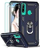 LeYi Funda Huawei P40 Lite E con [2-Unidades] Cristal Vidrio Templado,Armor Carcasa con 360 Grados Anillo iman Soporte Hard PC Silicona TPU Bumper Antigolpes Case para Movil P40 Lite E,Azul