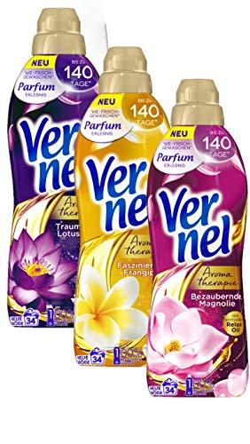 Vernel Weichspüler Aroma Therapie Ausprobierset 3x850ml Faszinierende Frangipani, Bezaubernde Magnolie, Traumhafte Lotusblüte