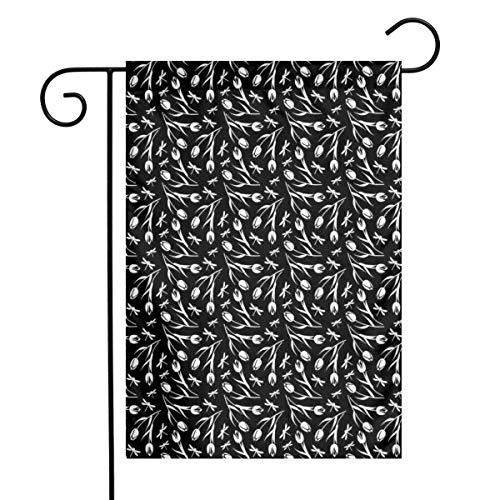 N/A Schwarzweiss-Monochrome Silhouetten von Libellen und romantischem Tulpenblütenstrauß Monochrom einseitig 12 x 18 Zoll
