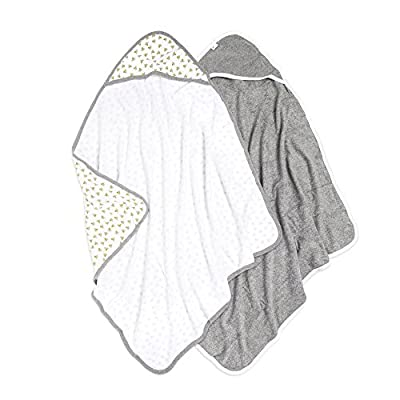 Burt's Bees Baby - Hooded Towels, Absorbent Knit Terry, Super Soft Single Ply, 100% Organic Cotton (Honey Bee/Grey, 2-Pack)