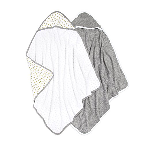 Burt's Bees Baby Infant Single Ply Hooded Towel, 100% Organic Cotton, Honey Bee Cloud, 2 Pack