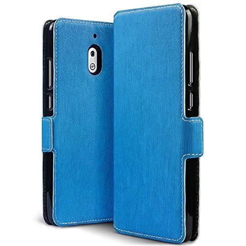 TERRAPIN, Kompatibel mit Nokia 2.1 Hülle, Leder Tasche Hülle Hülle im Bookstyle mit Standfunktion Kartenfächer - Hellblau