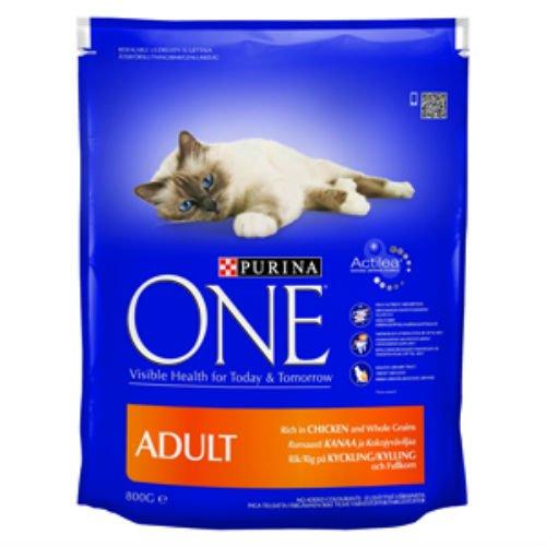 Purina One - Salmón y granos enteros para comida de gato adulto, 3 kg