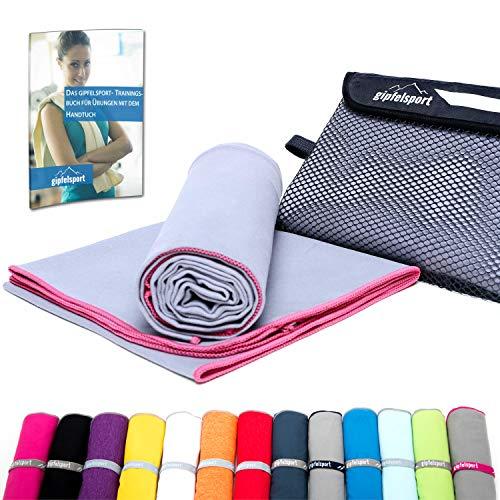Mikrofaser Handtuch Set - Microfaser Handtücher für Sauna, Fitness, Sport I Strandtuch, Sporthandtuch I Set2 1x S(80x40cm) & 1x XL(180x80cm) I Pink