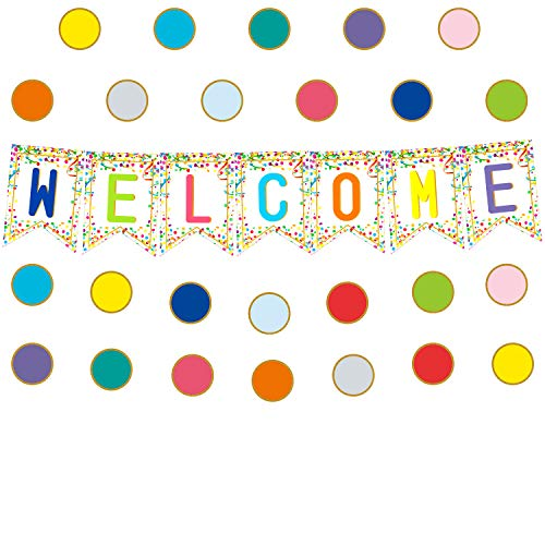 Youngever 67 pcs Confetti Pennants Welcome Bulletin Board with Golden Border