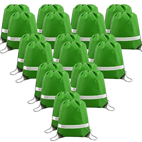 20 PCS-Green-Drawstrings-Backpack-Bags Reflective Bulk Pack, Sports Gym Sack String Backpacks Cinch Bag