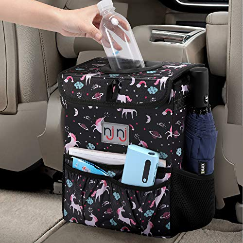 njnj Waterproof Car Trash Can Garbage Bin,Super Large Size Auto Trash Bag for Cars with Lid and Storage Pockets,Leak Proof Vehicle Car Organizer Hanging