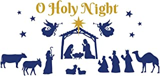 Collections Etc Nativity Scene Christmas Garage Door Magnet with Angles, Starts, Gold and Blue