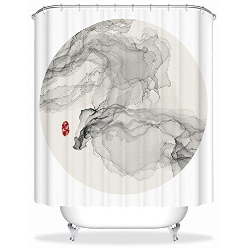 GAOJIAN Rideaux de douche Peinture à l'encre haute qualité Rideau de douche en polyester Épaississement imperméable à l'eau Salle de bains moulée Parfum de salle de bain de cuisine Rideaux de douche , width 150 * high 180