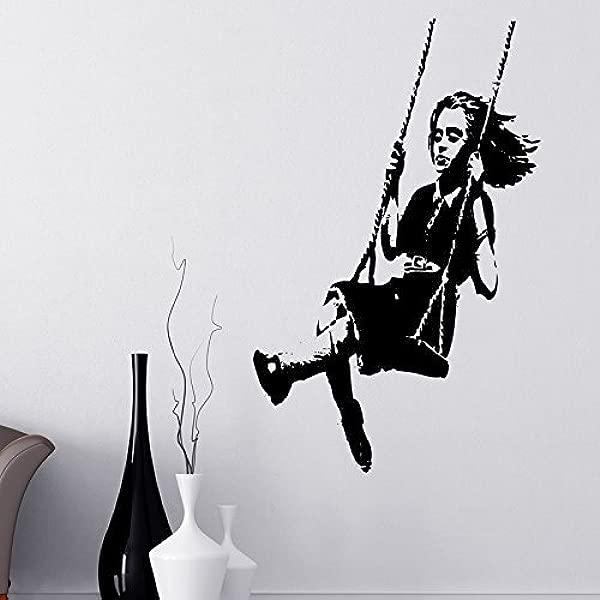 Gabriel Bloor Banksy Girl On A Swing Wall Sticker Decals Large 180 Cm X 60 Cm