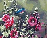 FDDPT DIY Malen nach Zahlen Erwachsene Blumen und Vögel Leinwand Ölgemälde Kinder Anfänger 40x50cm