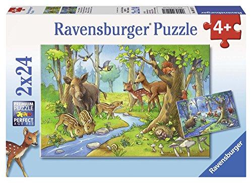 Ravensburger 09117 - Gli Animali della Foresta Puzzle, 2 x 24 Pezzi