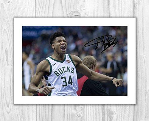 Giannis Antetokounmpo - Milwaukee Bucks - NBA 1 SP - Signed Autograph Reproduction Photo A4 Print (Print Only)