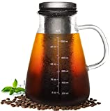 Veken Cold Brew Iced Coffee Maker & Iced Tea Maker-1.0L/34oz Glass Carafe with Removable Double Mesh Stainless...