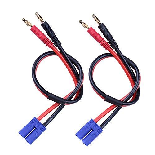 FLY RC EC5 Enchufe macho Conector 4mm Enchufes tipo banana Carga de la batería Adaptador de cable Cable de silicona 30 cm 11.8 pulgadas (paquete de 2)