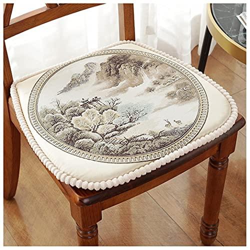 GYL-XF Cuscini Antiscivolo per Sedia per Sedia da Pranzo, Cuscino per Sedile A Ferro di Cavallo con Lacci, (Set di 2) Patio da Giardino, Casa, Cucina, Ufficio, Cuscini di Seduta in Stile Cinese