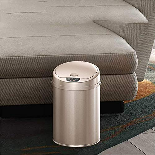 Cubo de basura con tapa automática inteligente con sensor de almacenamiento sin contacto, con tapa impermeable, apto para salón, cocina, sala de estar, etc.