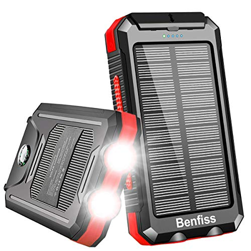 Solar Charger, Benfiss 20000mAh Solar Power Bank with 2 LED Flashlight,Carabiner and Compass, Waterproof External Backup Battery for Camping Gear, Outdoors, Emergency(Black with Red)