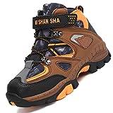 Mishansha Chaussure de Marche Enfant Garder au Chaud Chaussure Randonnée Garçon Respirantes Bottes d'escalade Ado Warm Chaussure Trekking Étanche, Orange 37