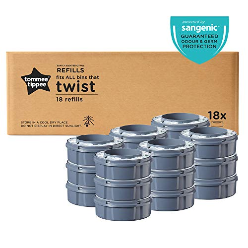 Tommee Tippee Twist and Click Enhanced Nappy Disposal Sangenic Tec Refills, Pack of 18