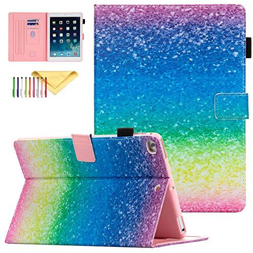 Uliking 9.7 iPad Case for iPad 6th /5th Gen 2018/2017, iPad Air 1 2 Cover, Slim PU Leather Shockproof Smart Cover Auto Sleep Wake Pencil Holder Protective Case for Apple iPad 9.7' 2017/2018, Rainbow