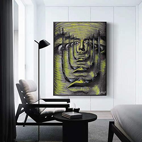 wZUN Pintura clásica impresión Abstracta surrealismo Lienzo Pintura Mural Imagen Sala de Estar decoración del hogar 60x80 Sin Marco
