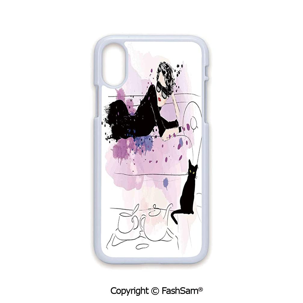 Plastic Rigid Mobile Phone case Compatible with iPhone X Black Edge Girl with Sunglasses Lying on Couch Cat Elegance in Home Theme with Stains 2D Print Hard Plastic Phone Case