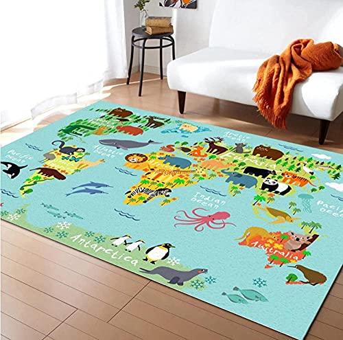 Tapis Chambre Enfant Tapis Extra Large Carte du Monde Animal de Dessin animé Tapis De Chambre d