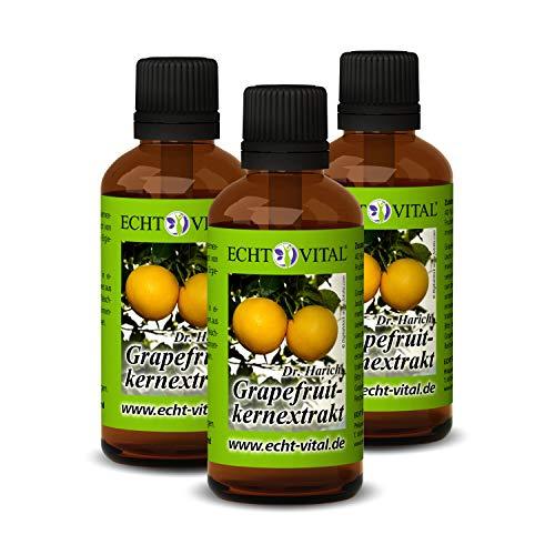 ECHT VITAL Grapefruitkernextrakt | 3 Flaschen mit je 50 ml (150ml) | Grapefruit Extrakt nach dem Original-Rezept von Dr. Harich | aus Kern und Schale | hochdosiert - vegan | hergestellt in Deutschland