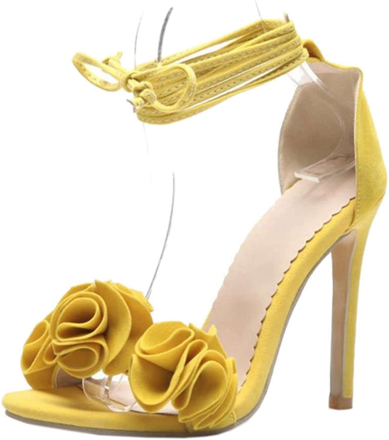 CUTEHEELS Sexy Sandals with Stiletto and Cute Flowers Lace-up Heels with Mini Large