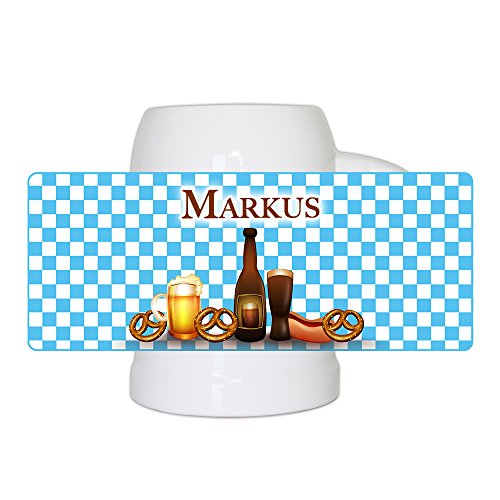 Bierkrug mit Namen Markus und bayerischem Motiv mit Brezn und Bier für Männer | Bier-Humpen | Bier-Seidel