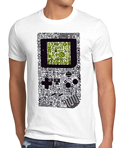 style3 8-bit Game Camiseta para Hombre T-Shirt Pixel Boy, Talla:L, Color:Blanco