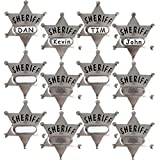 Metal Sheriff Badges - (Pack of 24) Silver Star Name Badges with Stickers for Personalized Names, Western Cowboy Dress Up Deputy's Badge Toys for Kids Birthday Party Favors, Giveaways & More