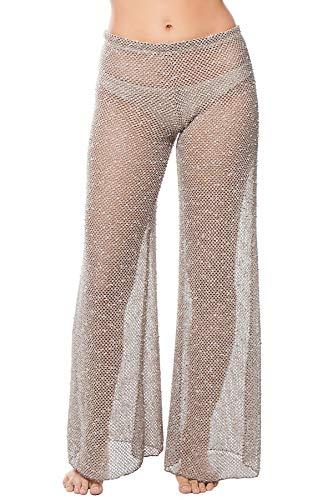 Elif Women's Crochets Crochet Shimmer Wide Leg Pants Swim Cover Up Taupe XS