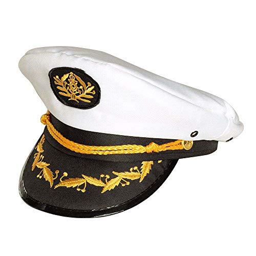 Boland 44372 - Mütze Kapitän Jonah, Captain, weiß-schwarz, goldene Verzierungen,...