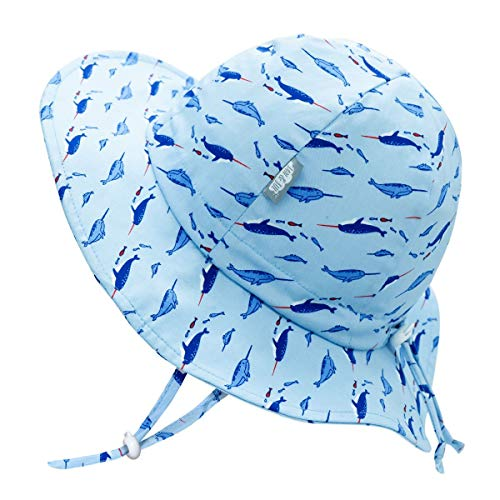 Jan & Jul Kids Foldable Summer Sun-Hat 50 UPF, Drawstring Adjustable, Stay-on Chin Strap (L: 2-5Y, Narwhale)