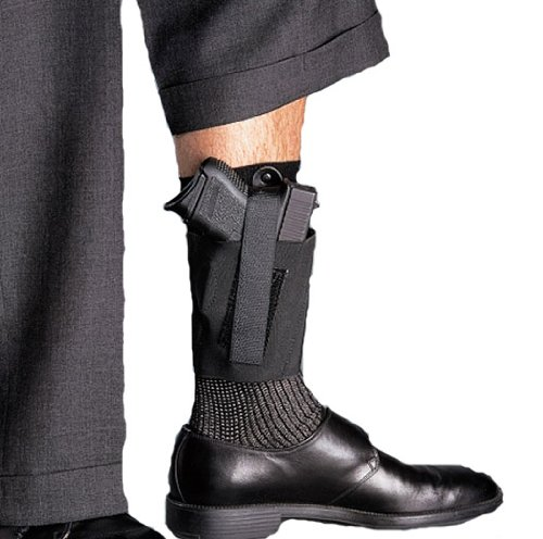 Galco Cop Ankle Band for Ruger LCP, Kel Tec P3AT, P32, Sig Sauer P238, NAA Guardian (Black, Right-Hand)