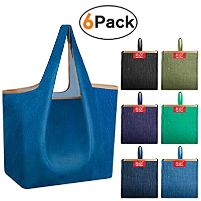 Reusable 50 lbs Grocery Shopping Bags Folding to Attached Pouch Over Shoulder Long Handle Denim Blue Flat Bottom Shrink Proof