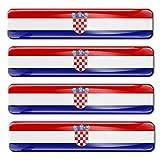 Biomar Labs® 4 x Aufkleber 3D Gel Silikon Stickers Croatia Flag Kroatien Kroatische Flagge Fahne Autoaufkleber F 5