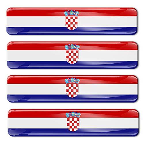 4 x sticker 3D gel siliconen stickers Croatia Flag Kroatië vlag vlag vlag autosticker F 5