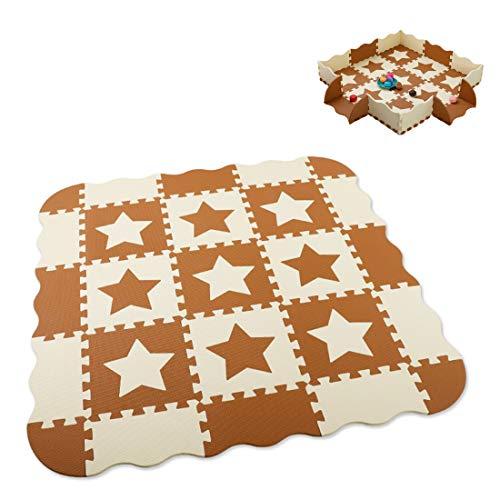 JH&MM Spiel-Matte mit Zaun für Kinder Eva-Schaum-Puzzle Teppich Krabbeln Mat Weichboden Spiel Teppiche Spielzeug für Kinder pädagogisches Spielzeug,Has a Border
