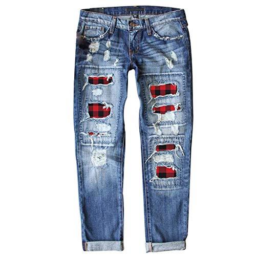 BULABULA Buffalo Spijkerbroek voor dames, geruite print, geribbelde jeans, patchwork, regular fit, lange casual denim jeans met gaten.