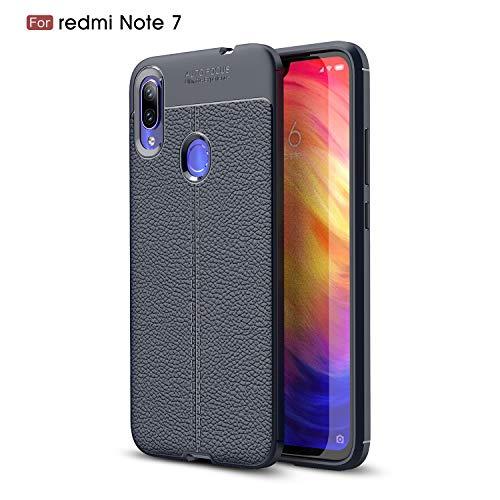 Xiaomi Redmi Note 7 Case, Silicone Leather[Slim Thin] Flexible TPU Protective Case Shock Absorption Carbon Fiber Cover for Xiaomi Redmi Note 7 Case (Navy)