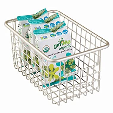 InterDesign Forma Household Wire Storage Basket with Handles For Kitchen Cabinets, Pantry, Bathroom, Satin,  10-inch x 6-inch  x 5-inch