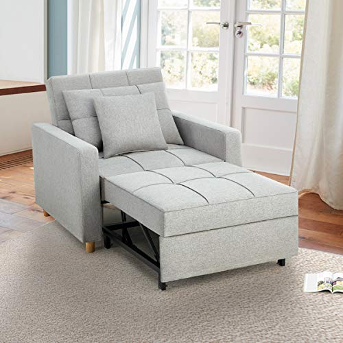 Esright Sofa Bed 3-in-1 Convertible Chair Multi-Functional Adjustable Recliner, Sofa, Bed, Modern Linen Fabric, Light Gray